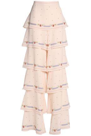 VILSHENKO Printed tiered silk-crepe wide-leg pants