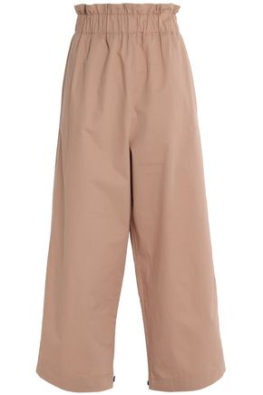 GANNI Cotton-twill wide-leg pants