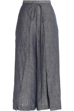 ROSETTA GETTY Wrap-effect linen-blend chambray culottes
