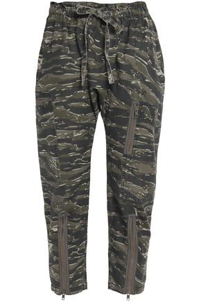 CURRENT/ELLIOTT Printed cotton and linen-blend tapered pants