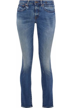 R13 Distressed faded low-rise skinny jeans