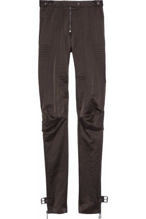 BELSTAFF Buckled cotton-blend satin slim-leg pants