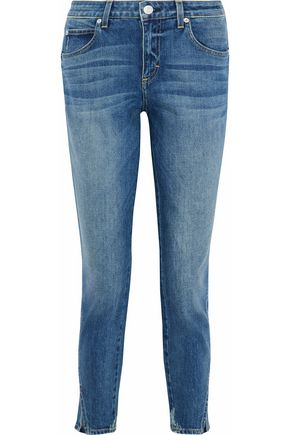 AMO Distressed faded high-rise slim-leg jeans