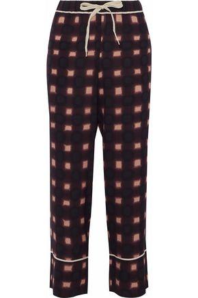 MARNI Printed crepe-de-chine wide-leg pants