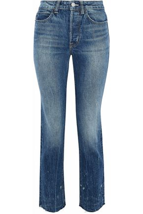 HELMUT LANG Cropped distressed high-rise slim-leg jeans