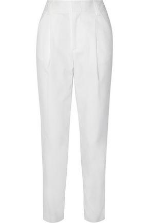 ALICE+OLIVIA Arthur pleated cotton-blend faille tapered pants