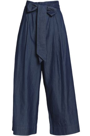 TIBI Pussy-bow cotton chambray high-rise wide-leg pants