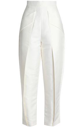 SOLACE LONDON Janet pleated faille tapered pants