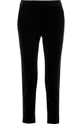 TOMAS MAIER Satin-trimmed stretch-cotton velvet tapered pants