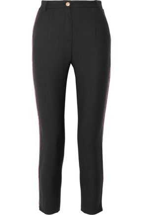 PIERRE BALMAIN Chain-embellished stretch-twill slim-leg pants