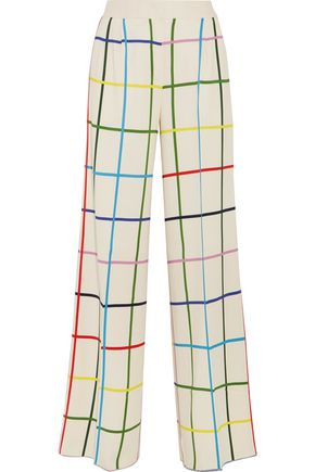 MARY KATRANTZOU Donis checked stretch-crepe wide-leg pants