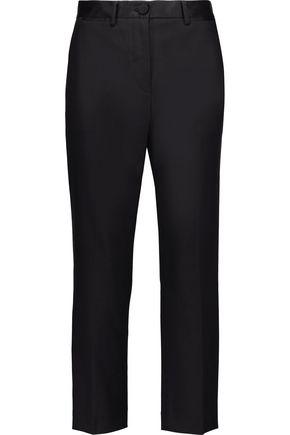 HELMUT LANG Cropped satin-trimmed wool-blend straight-leg pants