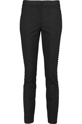 DIANE VON FURSTENBERG Marjie embellished stretch-wool crepe slim-leg pants