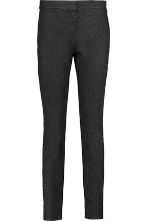 DIANE VON FURSTENBERG Marjie glittered cotton-blend slim-leg pants
