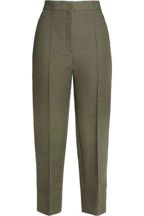 SANDRO Candice cropped cotton-blend slim-leg pants