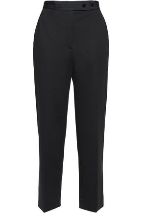 SANDRO Satin-trimmed faille straight-leg pants