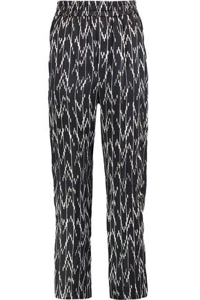 ISABEL MARANT Gathered printed silk crepe de chine tapered pants