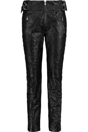 ISABEL MARANT Embellished textured-leather slim-leg pants