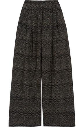 MISSONI Pleated metallic crochet-knit wide-leg pants
