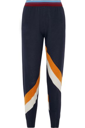 STELLA McCARTNEY Striped wool and silk-blend track pants