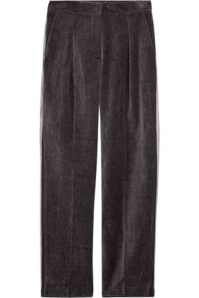 STELLA McCARTNEY Cortese stripe-trimmed cotton and linen-blend pants