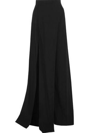 BALMAIN Split crepe wide-leg pants