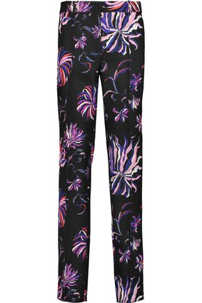 EMILIO PUCCI Printed silk-blend twill slim-leg pants