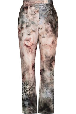 VALENTINO Printed cotton and silk-blend twill straight-leg pants