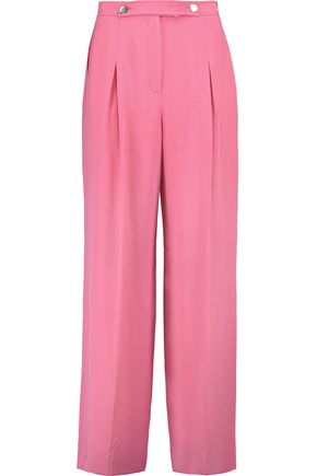 VALENTINO Pleated silk-crepe wide-leg pants