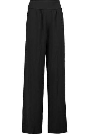 VALENTINO Jersey-paneled crepe wide-leg pants