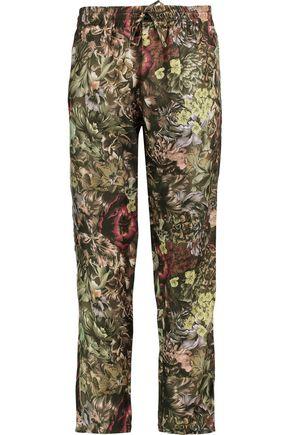 VALENTINO Floral-print silk straight-leg pants