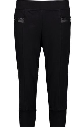 ADIDAS by STELLA McCARTNEY Cropped cotton-blend jersey track pants