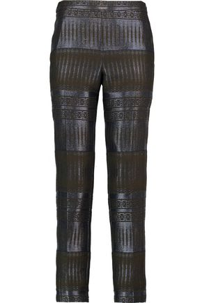 AMANDA WAKELEY Metallic jacquard slim-leg pants