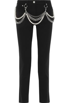 MOSCHINO Embellished crepe slim-leg pants