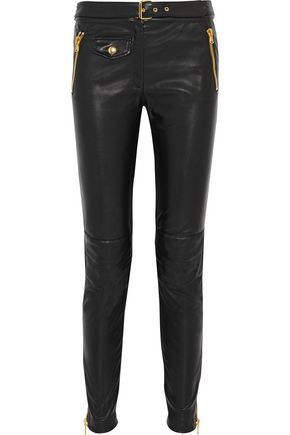 MOSCHINO Faux stretch-leather skinny pants