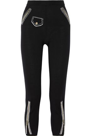 MOSCHINO Metallic intarsia and ribbed-knit wool leggings