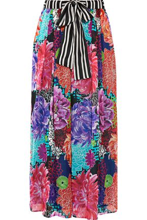 MATTHEW WILLIAMSON ESCAPE Miyazaki Mirage printed silk-chiffon wide-leg pants