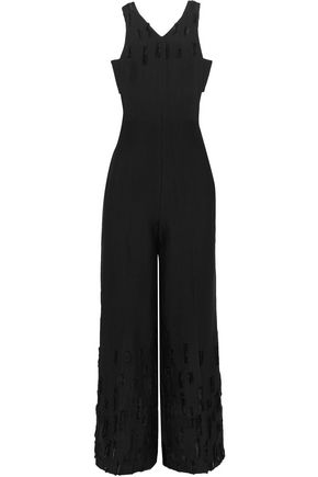 AMANDA WAKELEY Dial cutout distressed bouclé jumpsuit