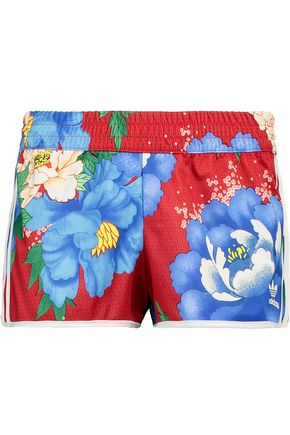 ADIDAS ORIGINALS Striped floral-print jersey shorts