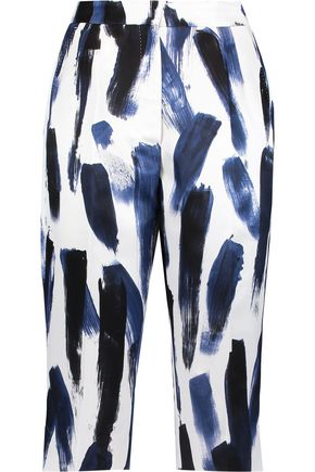 DOLCE & GABBANA Cropped printed silk-satin skinny pants