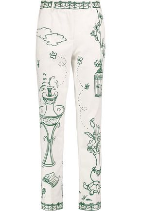 DOLCE & GABBANA Printed cotton-blend twill straight-leg pants