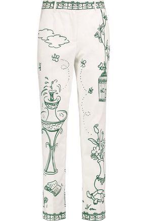 DOLCE & GABBANA Printed cotton-blend twill straight-leg pants