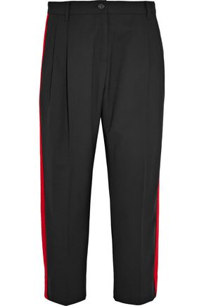 DOLCE & GABBANA Cropped felt-trimmed wool-blend crepe straight-leg pants