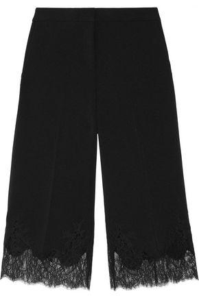 MICHAEL MICHAEL KORS Cropped lace-trimmed stretch-crepe wide-leg pants