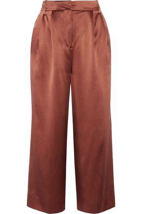 TIBI Pleated silk-satin culottes
