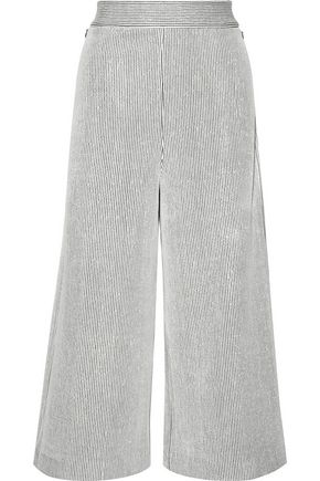 TIBI Striped ribbed-knit wide-leg pants