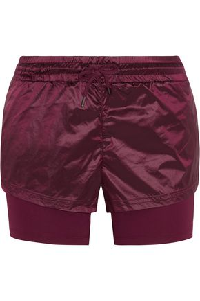 ADIDAS by STELLA McCARTNEY Run layered Climalite shell and jersey shorts
