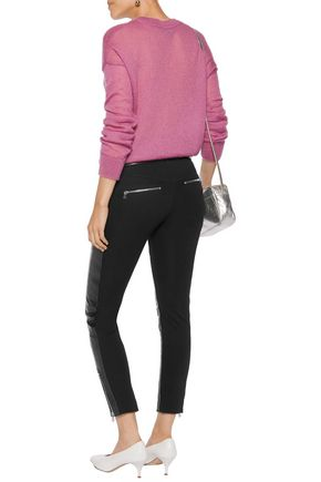 RED(V) Cropped leather and stretch-jersey skinny pants