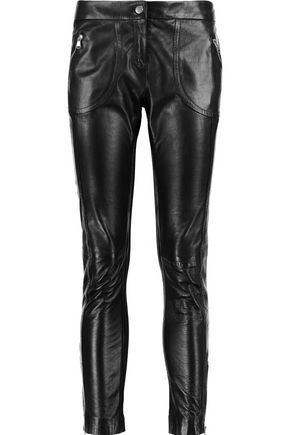 REDValentino Panelled leather and stretch-jersey skinny pants