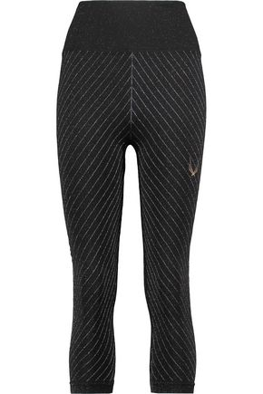 LUCAS HUGH Metallic pinstriped stretch-jersey leggings